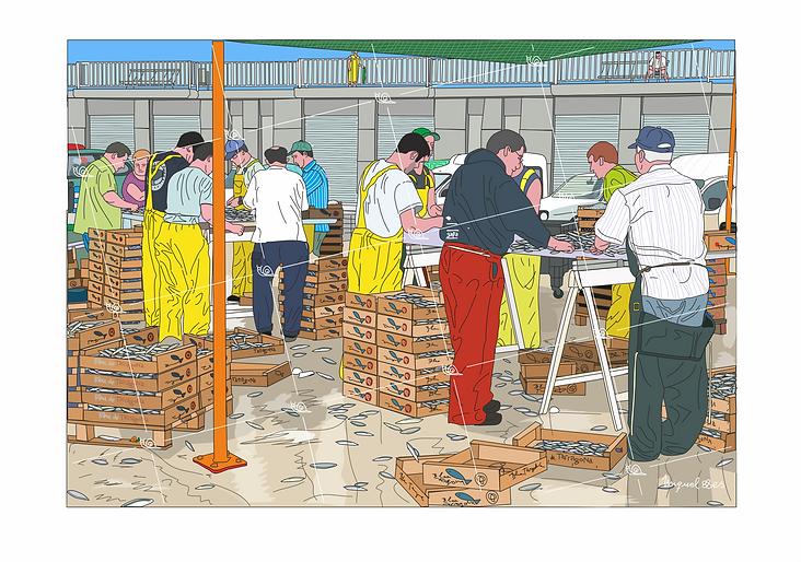 Pescadores del puerto de Cambrils