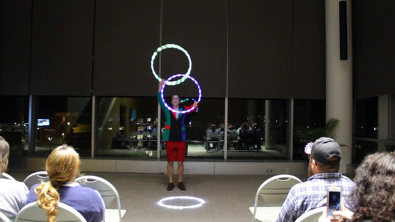 """Performing a """"fancy"""" LED hoop act at Alfred State College"""
