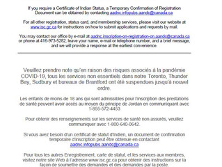 Notice from Indigenous Services Canada