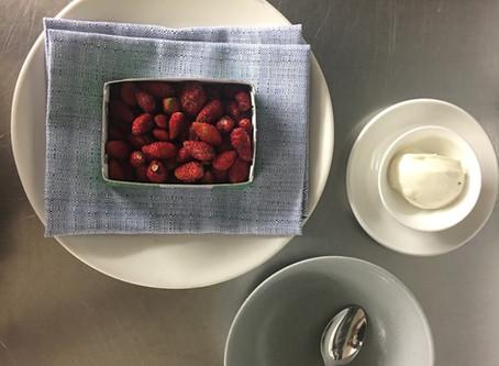 Wild French Strawberries with Vanilla Creme Fraiche'