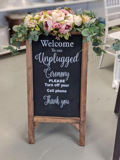 Unplugged Chalk board sign