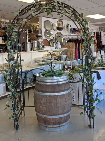 Iron Gated Arch & Wine barrel
