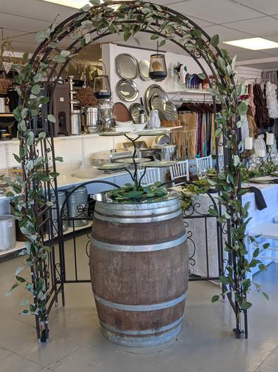 Iron Gated Arch & Wine barrel
