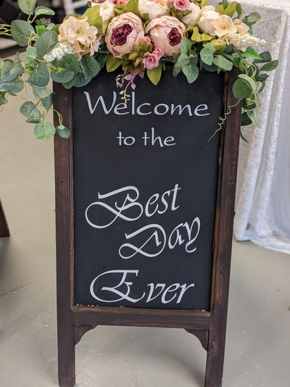Welcome chalk board sign