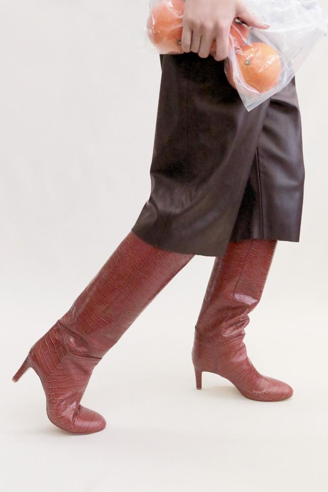 Art.no. AWS-1 Heel: 7cm Price: 48,000yen+TAX Color: Croco-Brick, Croco-Choco, Croco-Black