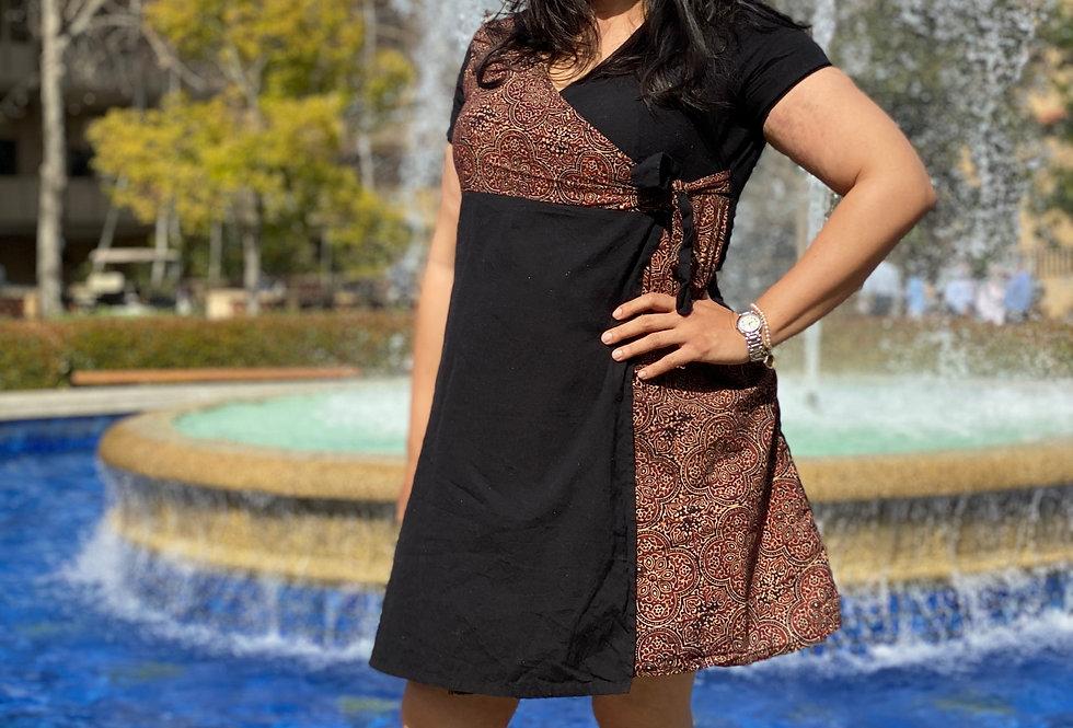 Siyahi Surplice Ajrakh Dress