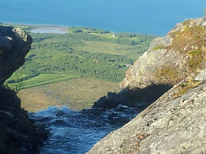 The place where I was born! The fjord way down - and the river from a mountain cliff!