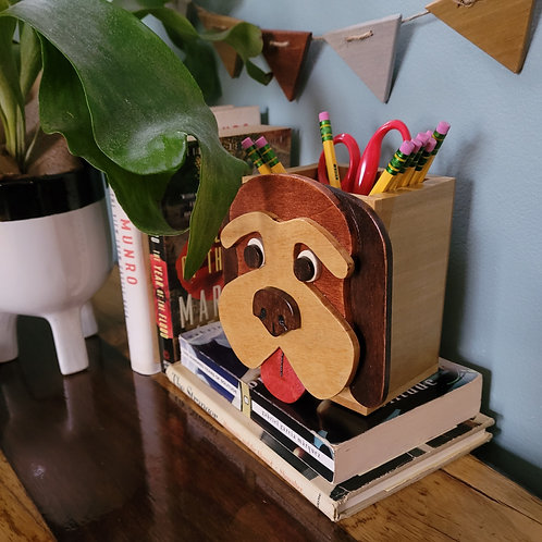Brown Hound Dog Pencil Box
