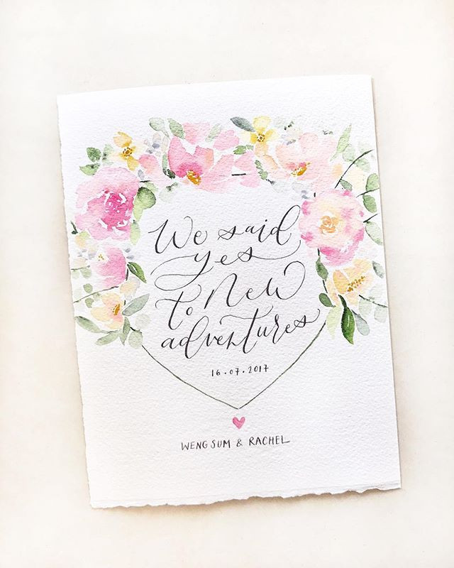 Modern Calligraphy Wedding Watercolours