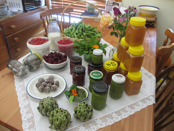 """I am proud of all my organic produce. A summer's day we made fresh Pesto, strawberry jam, rum balls  (to be naughty), fresh berries, goatsmilk, artichokes and our superb honey from our own beehive. This is what you call """"the good life""""."""