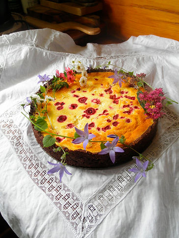 This is Conny's very special recipe. with berries, white chocolate, ricotta, philladelphia cheese, sourcream, nuts and cocoa and chocolate in the crust, our fresh farm-eggs. A cake you will enjoy and it is not super heavy! just delicious!