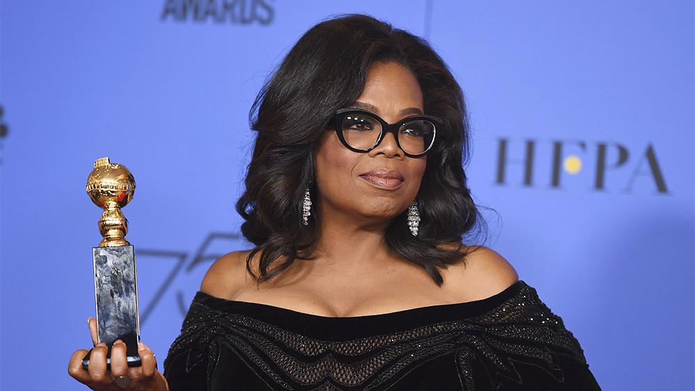 Oprah Winfrey backstage at the Golden Globes