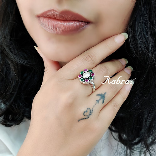 Oval Cut Stone Ring (4 color options)