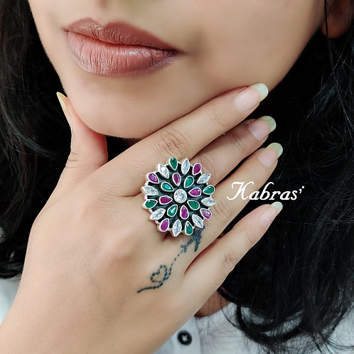 Floral Cut Stone Ring (3 Color Options)