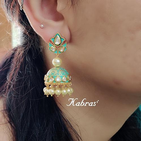 Turquoise Kundan Jhumki
