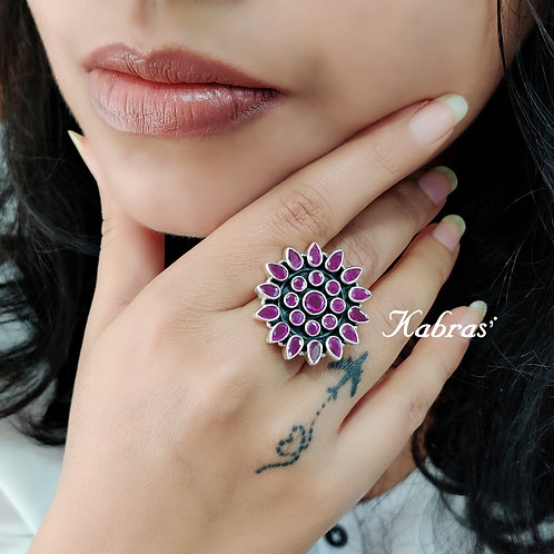 Floral Stone Ring (3 color options)