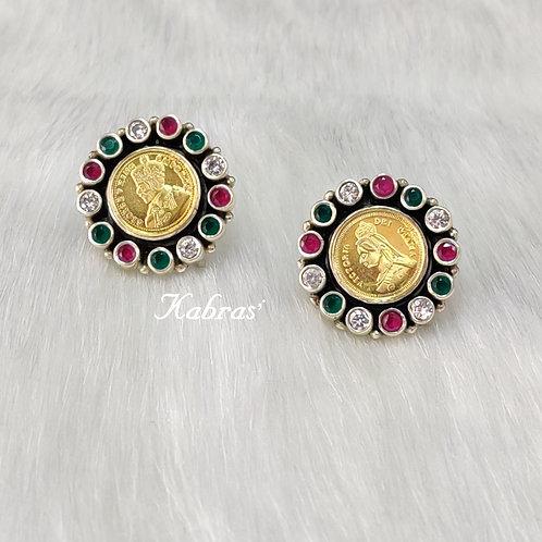 GJ Coin Multicolored Stud