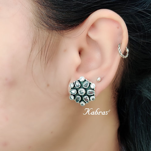 Turquoise, White, Black Combination Studs