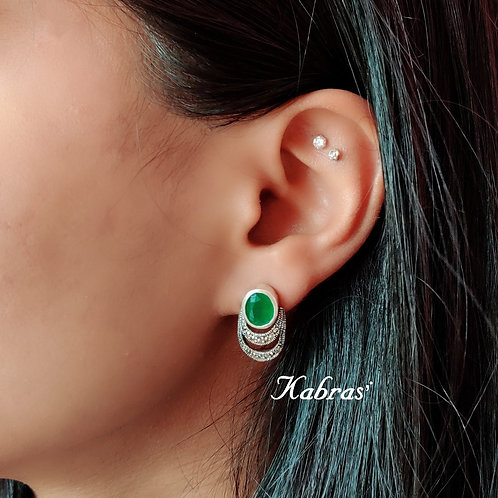 Emerald Basket Studs