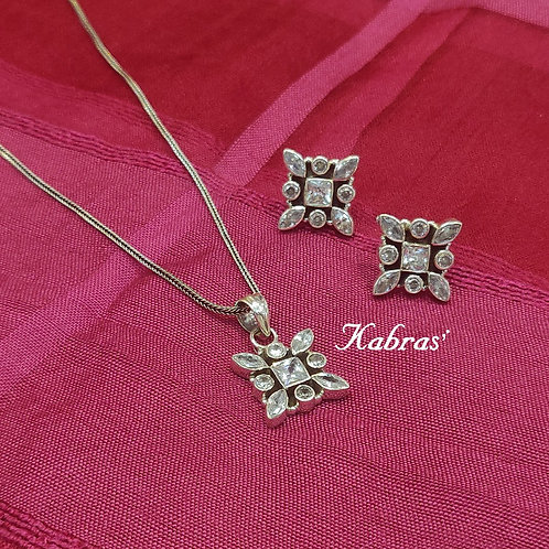 Cut Stone Square Pendant Set