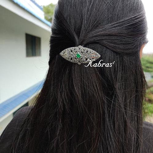 Green Marcasite Hair Clip