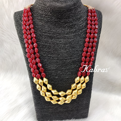 Golden Ruby Dholki Necklace