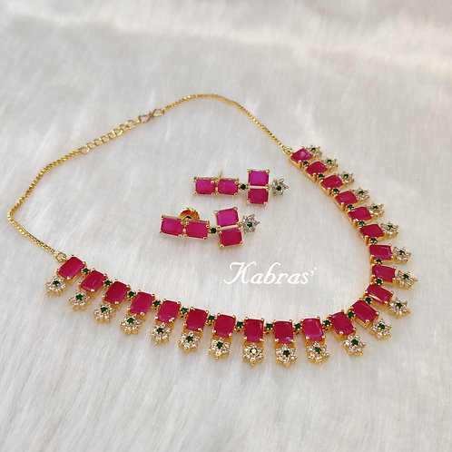 Ruby Floral Necklace Set