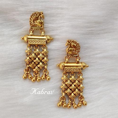 GJ Jhallar Peacock Earrings