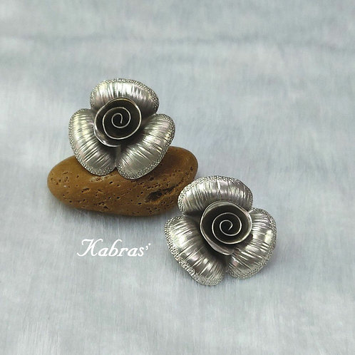 Striped Rose Studs
