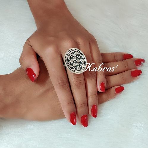 Oval Floral Nakshi Ring
