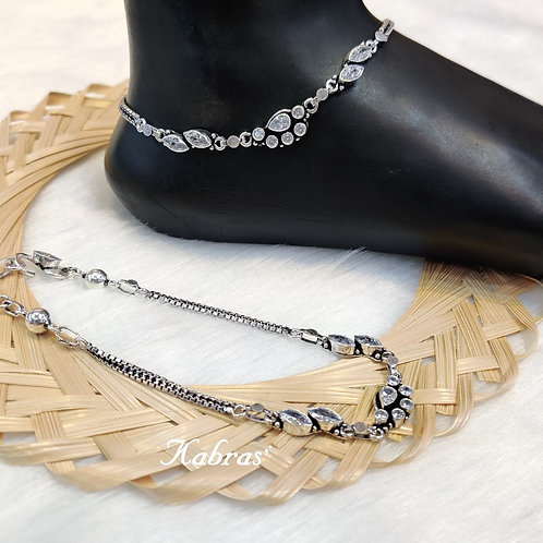 White AD Cut Stone Anklet