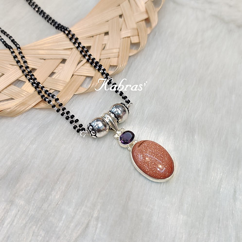Sandstone-Amethyst Mangalsutra