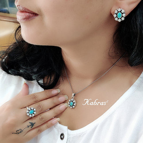 Pearl Turquoise Pendant Set