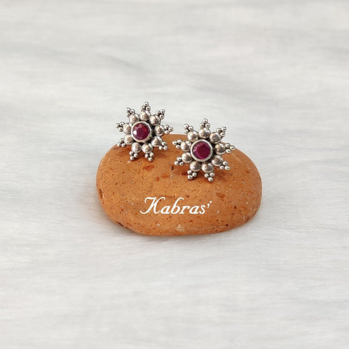 Floral Ruby Studs