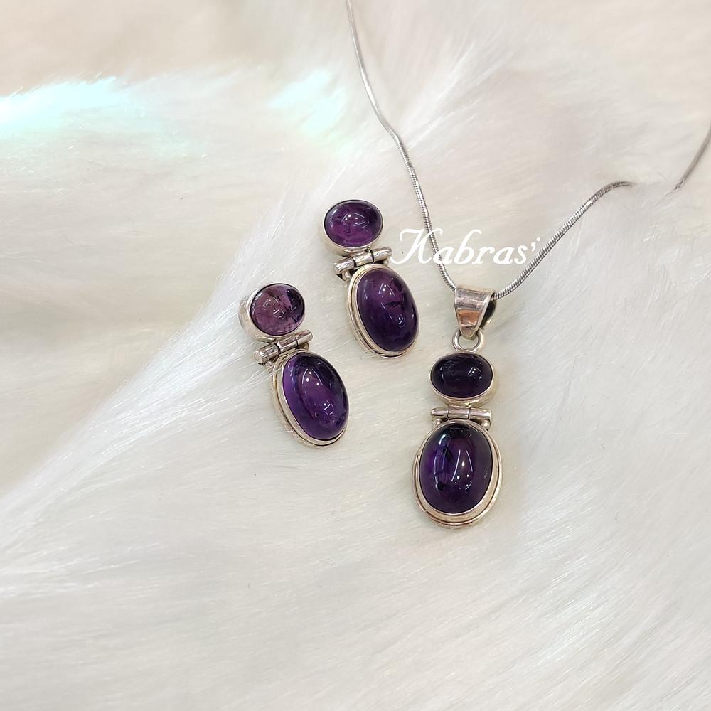 Amethyst Pendant Set - Silver Jewellery - Silver Pendant Set - Birthstones - Gemstones - Amethyst