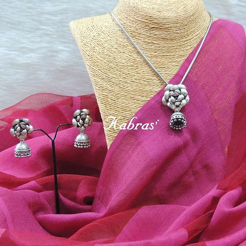Rose On Jhumka Necklace Set