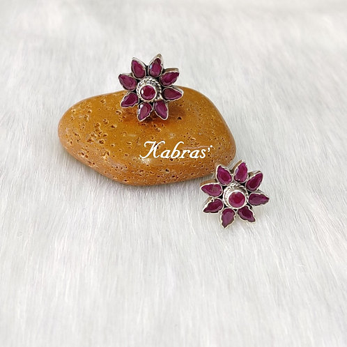 Ruby Floral Studs