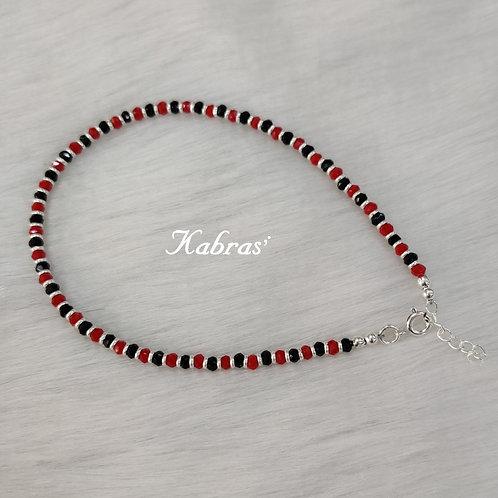 Red-Black Beaded Anklet