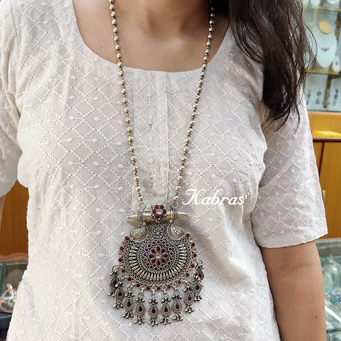 Floral Ruby Long Necklace