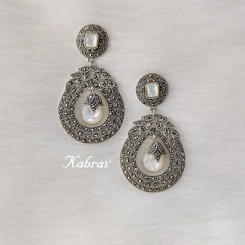 MOP Quilled Marcasite Earrings