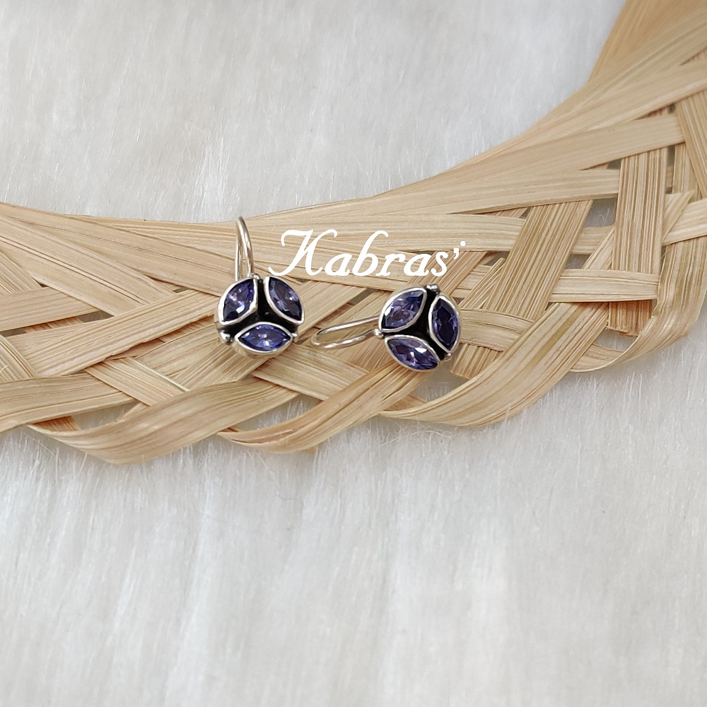 Silver Danglers - Antique Silver Jewellery - Amethyst - Tanzanite - Sterling Silver Jewellery - Zodiac Birthstone