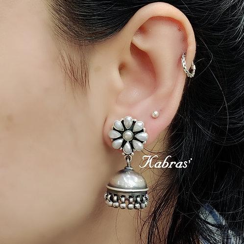 Pearl Floral Jhumki