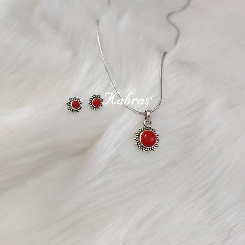 Star Dot Coral Pendant Set