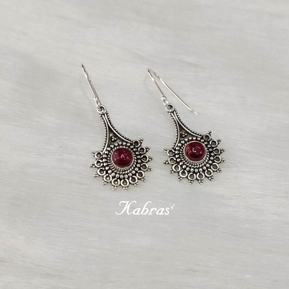 Silver danglers - silver earrings - january birthstone - garnet jewellery - garnet earrings