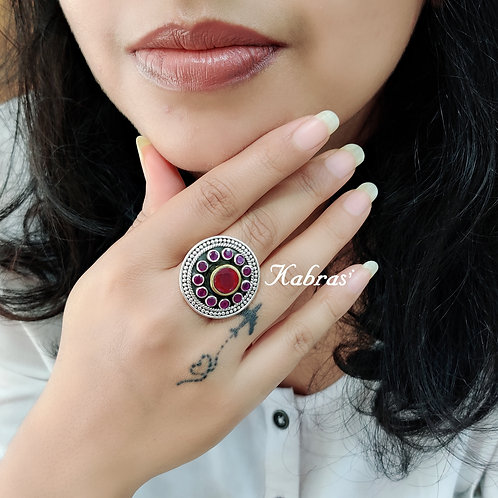 Dual Tone Cut Stone Ring (6 color options)