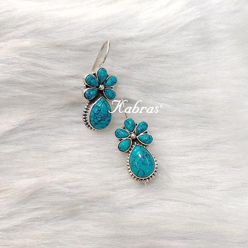 Turquoise Floral Drop Dangler