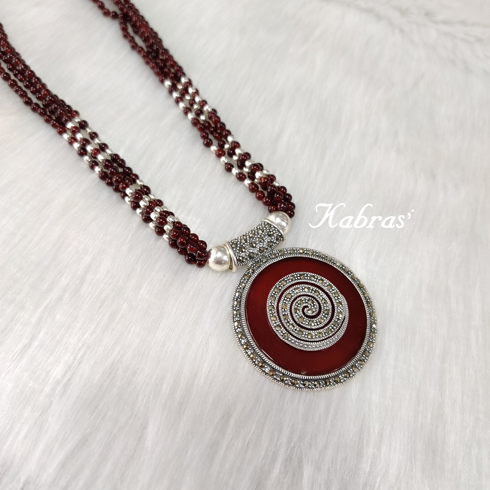 Silver jewellery - statement jewellery - silver necklace - garnet jewellery - January birthstone - Capricorn birthstone