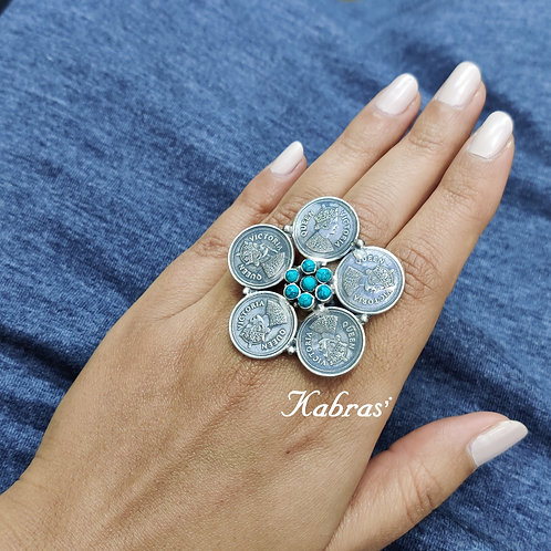 Turquoise Coin Ring