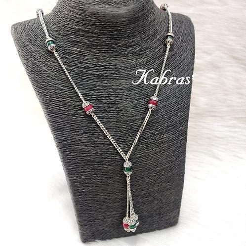 Ruby-Emerald Drop Necklace