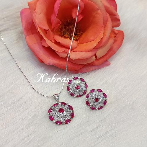 Pink Floral Pendant Set